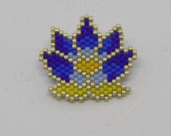 LOTUS brooch - Indigo blue tones
