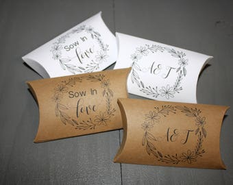 Personalized Sow In Love // Let Love Grow favor boxes // Wedding favors // Bridal Shower favors // Does not include seeds