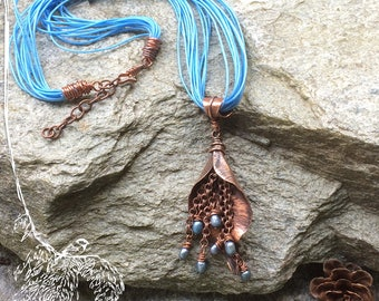 Copper Leaf Necklace with Freshwater Pearls