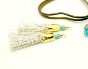 2 45 mm, Tassel, silver tassel gold tassel, tassel jewelry, tassel charm is silver and Turquoise