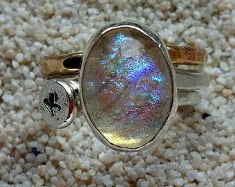 Ashes to Glass Aurora Always Memorial Ring in Sterling Silver, Pet Memorial, Cremation Jewelry