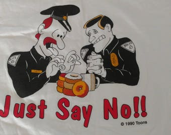 Just say no to donuts vintage police cop white T-shirt XL 90s