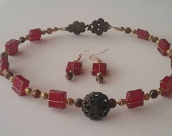 Red Glass and Brass Chokers