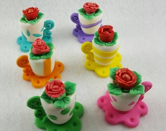 Fondant Coffee / tea cup flower pot for tea party mothers day birthday cupcake cake toppers.  Set of 6.