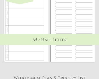 "Weekly Meal Planning and Grocery Shopping List ~ Printable Planner Inserts ~ A5 / 5.5"" x 8.5"" Instant Download PDF"