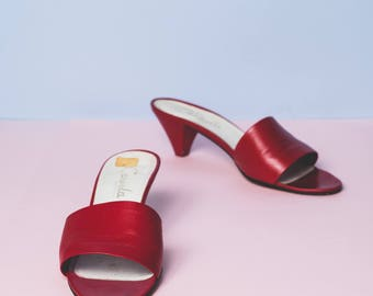 Scarlet Carvela slip- on leather mules // sandals // open toe // cone/kitten heel // minimal // luxe // summer // made in Italy