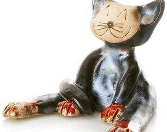 Black Good Luck Cat | Gift for a Cat Lover | Quirky Gift or Home Decor | Beautifully Handmade Ceramic in Metallic Black