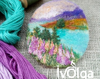 Needle Felt Brooch Picture Embroidered Felt Mounain Glade Lake Landscape Textile Art Pin Climber Gift Purple Violet Natural Ahimsa Jewelry