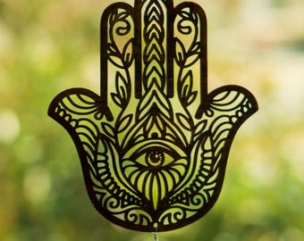 Hamsa Hand Window Hanging - Hand of Fatima Khamsa Humes Hamesh Miriam - Evil Eye Protection - Happiness Luck & Health Amulet - Lasercut Wood
