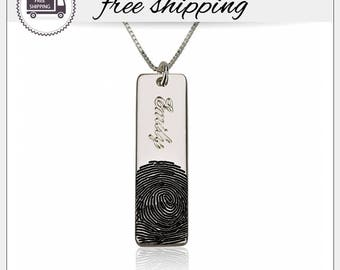 28% OFF* Actual Fingerprint Bar Necklace • Fingerprint Jewelry • Personalized Fingerprint Necklace • Memorial Jewelry • Personalized Gift