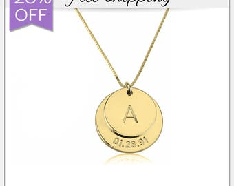 28% OFF - Engraved Initial and Date Necklace • Double Disc Necklace • Baby Date Necklace • Gold Initial Necklace • Initial Disc Charm GN1200