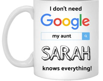 Aunt Gift. Gift For Aunt. New Aunt Gift. Personalized Google Coffee Mug Cup. Aunt Gifts For Best Auntie Ever. Aunt To Be Pregnancy Reveal