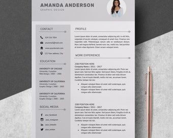 Professional Resume Template with Photo, Resume Template Cover Letter + References, CV Template with Photo for MS Word, Unique Resume