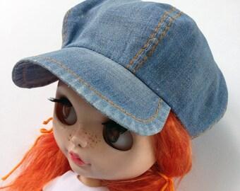 Denim cap for blythe, blythe cap, blythe clothes, blythe outfit, blythe hat, Blythe, Denim cap