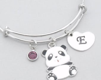 Panda charm bracelet with heart initial   personalised panda jewellery   enamel panda jewelry   panda bangle   panda gift