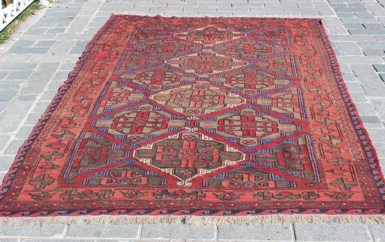 Antique Soumak Rug,9.3x6Feet, 285x184 cm,Kilim Rug,Vintage Home ...