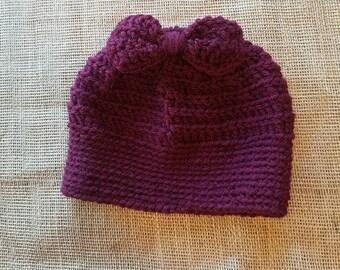 Crochet burgundy bun beanie with bow