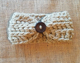 Taupe crochet headband with brown button for teens to adults