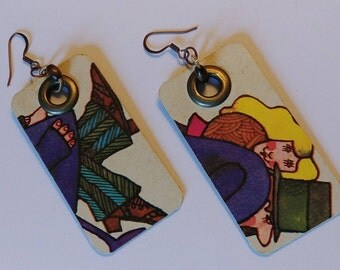 Handmade Funky Earrings Made From Recycled Materials // Eco Friendly Jewelry