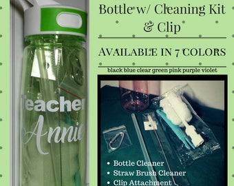 Custom Water Bottle with Straw and Cleaning Kit w/ clip, Teacher, Gift, 27oz BPA Free Water Bottle, Tritan Sport Water Bottle, Leak Proof