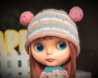 Blythe cute knitted hat, helmet - OOAK handmade