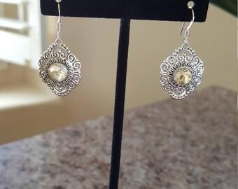 Citrine Cut Stone Earrings w/925 Sterling