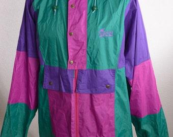 Vintage 90s 90er ANUY Regenjacke Windbreaker Lila Grün Colour Blocking XXL Oversized
