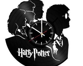 Harry Potter Vinyl Clock - Hogwarts Vinyl Record Wall Art Handmade Decor - Best Vintage Birthday Gift For Fans Men Women - Room Decoration
