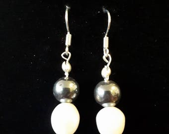 Hematite and Pearl Earrings