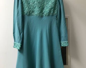 vintage 60s a-line turquoise dress XS/S