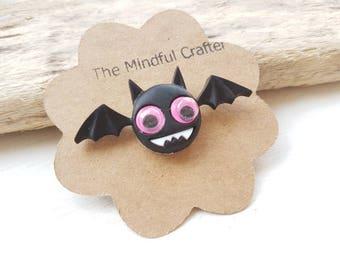 Bat brooch bat pin bat jewelry Halloween bat brooch googley eye bat. Bat jewellery bat accessory vampire bat pin bat badge Halloween pin