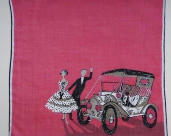 Hankie Lipstick lip stick red couple in front of car Fifties 50s Vintage