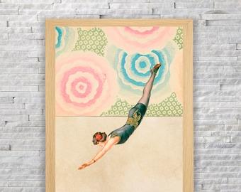 Download and print - woman circus dip - vintage decor. Original gift - DIY