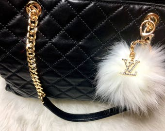 Louis Vuitton Inspired keychain Pom Pom bag charm Purse Charm Handbag charm clip Gold Bling Crystal Rhinestone charm With White Fur Pom Pom
