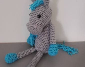 Horse 'too small' 36 cm tall grey Turquoise crochet
