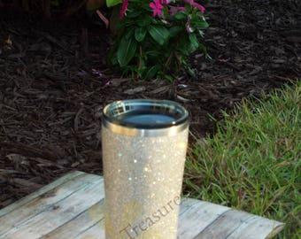silver glitter tumbler, glitter tumbler, glitter cup, sparkle tumbler. ozark tumbler