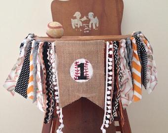 Baseball First Birthday High Chair Banner/Orange Black White/Cake Smash/Party Decor/Photo Shoot Prop/Boy Sports Birthday/ CUSTOM Banner
