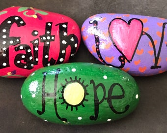 Set: Hope, Love, Faith Inspirational Painted Rocks, Garden Stones, Collectibles & Decor -- GREAT gift!