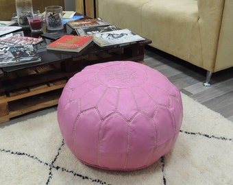 Pink Leather Poufmoroccan Handcrafted Pouf Ottoman