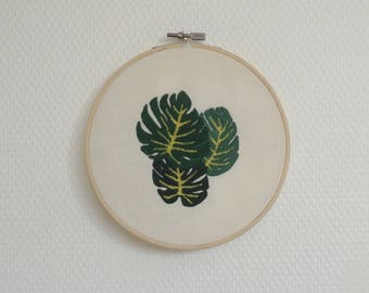 Decorative embroidery leaves monstera