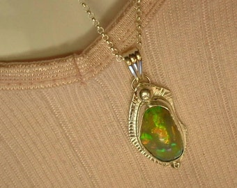 Ethiopian Fire Opal Necklace Sterling Silver Large Gem Statement Necklace Statement Jewelry Orange Green Blue Yellow Salmon Fire 399 G