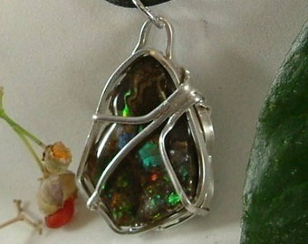 Ammolite Necklace Sterling Silver Adjustable Large Utah Gem Statement Necklace Cord Necklace Statement Necklace Red Green Yellow Fire  408 G