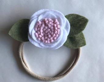 White Felt Flower Headband or Clip