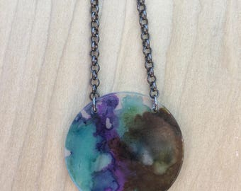 Alcohol Ink Set - Acrylic Disc Necklace with Earrings