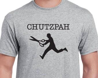 Chutzpah Man Running With Scissors T-shirt. Funny Yiddish, bold, nonconformist tee.