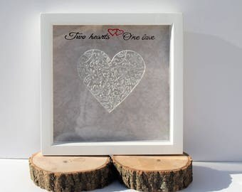 Anniversary picture frame, wedding picture frame, heart picture frame, hand painted frame, Two hearts One Love , engagement gift