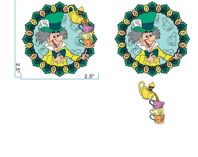 Craft with Complimentary Mini Teapot with Cups or Regular Mad Hatter Portraits Series Pin LE50
