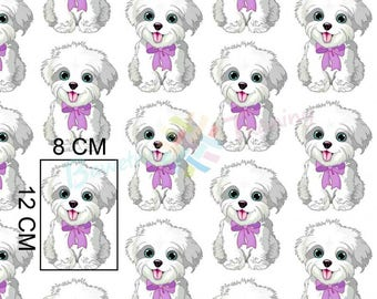 Puppy Fabric, White Dog Fabric, Funny Dogs Material, cute Animal Fabric, ribbon Yorkshire Terrier Fabric Sewing material, Quilting Fabric