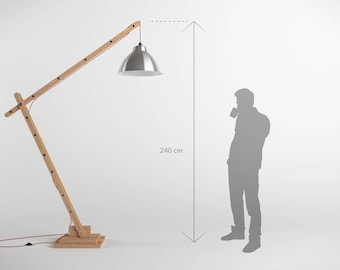 Giant articulated 240cm wooden architect lamp
