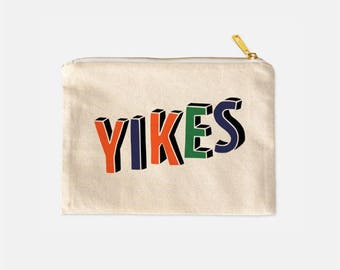 Yikes Cosmetic Bag, Travel Make Up Bag, Funny Makeup Pouch, Cotton Canvas Cosmetic Bag, Lined Makeup Bag, Cute Cosmetic Bags, 9.5 x 7